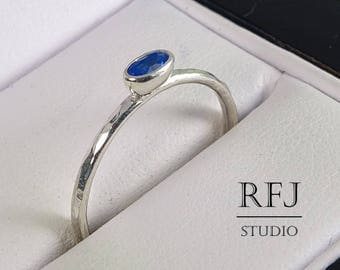 Oval Synthetic Sapphire Silver Hammered Ring, September Birthstone, Oval Cut Blue Sapphire Ring, Stacking Ring Sterling Silver Sapphire Ring