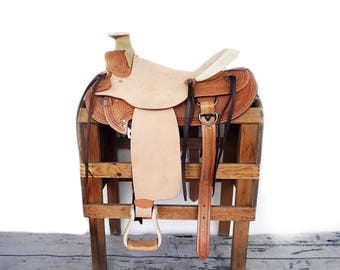 Handmade Western Wade Horse Pleasure Trail Rough out leather Ranch Saddle Light Roping