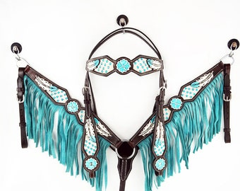 Handmade Western barrel Trail Horse Turquoise Bling Feather Tooled Hair on Leather Trail Bridle Headstall Breast Collar Tack