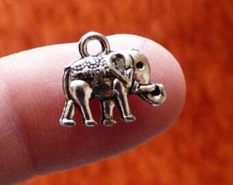 Bulk Elephant Charms, Animal Charms, Cute Elephant Pendants, Silver Tone Charms, Lucky Charms, Metal Charms, 2 Side Charms for Bracelets