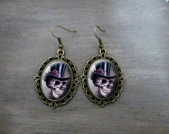 Boucles d'oreilles Ovales festonnées Boucles d'oreilles cabochon rétro vintage bijoux romantique *Madame je vous salue * tête de mort fleur