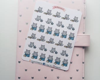 Cute Wolf Goes Shopping Planner Stickers