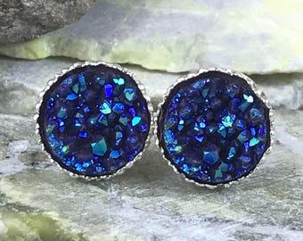 Slate Blue Druzy Earrings - Bridesmaid Gift - Druzy Jewelry - Druzy - Drusy - Stud Earrings - Blue - Faux Druzy - Jewelry - Earrings -