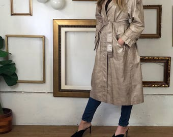 Faux Leather Tan Snake Skin 90s Trench Coat - FREE SHIP - sz 8-12