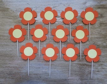 Orange Flower Cupcake Topper 12 Count yellow spring party decor toothpick birthday girls