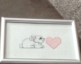 4x6 Finished Rabbit Cross Stitch