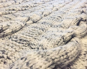 Hand Knit 5 Cable Washable Wool-blend Throw Afghan Blanket 50 x 65