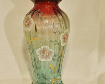 Fenton Art Glass Hand Painted by Signed Artist Michelle Kibbe and Signed by Frank M. Fenton and Bill Fenton
