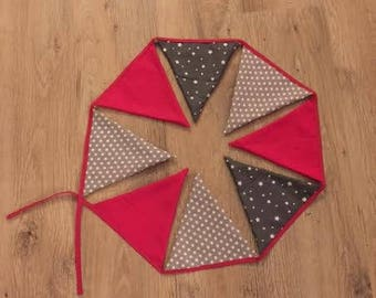 Bunting fabric in grey and pink