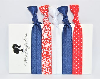 4th of July Hair Ties, Red White & Blue, Americana, Elastic Hair Ties, Handmade, Elastic Ribbon, Ponytail Holder, Knotted Hair Ties