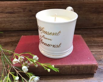 """Orange Blossom soy candle in a vintage Victorian Souvenir Mug """"A Present from Llanwrst"""""""