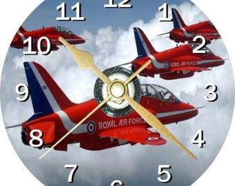 RAF clock Red Arrows in flight can be personalised plus free stand