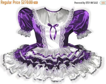 50% OFF SALE Nichole CUSTOM Fit Lacy Purple Satin Adult Little Girl Sissy Dress Leanne