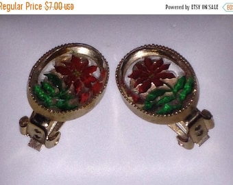 On Sale Vintage Lucite Clip Earrings with Red Flowers