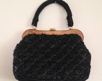 On Sale Vintage Made in Japan Woven Black Wooden Handled Purse