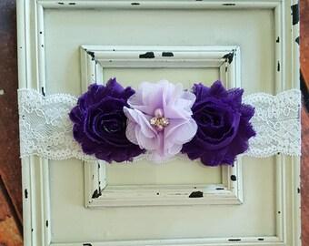 Purple Headband-Baby Girl Headband-Girl Headband-Newborn Headband-Baptism-Flower Headband-Flower Girl-Hair Accessories-Wedding Headband