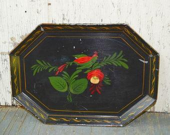 Vintage Bird Tray Handpainted Folk Art