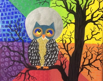 Owls naive and colorful - original acrylic painting on canvas