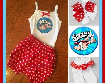 Captain Underpants Inspired Outfit, Captain Underpants Tank Top, Captain Underpants Bloomer Set,