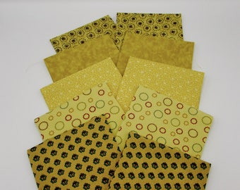 Neutral prints fat quarter bundle,  10 FQ's, 2 each of 5 different small prints on tan, cream & soft yellow backgrounds, cotton quilt fabric