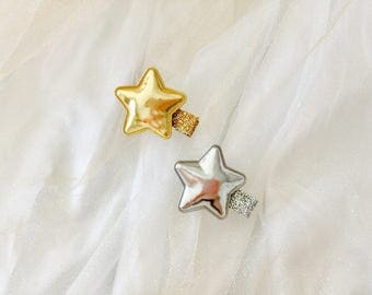 Baby hair clips infant hair clips gold star hair clips silver star hair clips baby barrettes infant barrettes star hair clip set