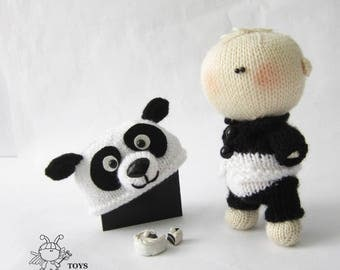 Panda amigurumi funny doll.Amigurumi doll.Amigurumi knitted Panda.Panda softie doll.Panda toy.Knitted dressed doll.Knitted Panda