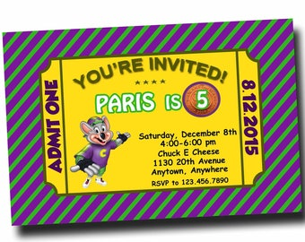 Chuck E. Cheese Invitation, Chuck E. Cheese Birthday Party, Chuck E. Cheese Birthday. Digital (print it yourself)