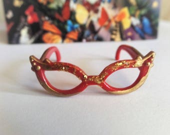Red and gold painted with sparkle glitter doll glasses, custom doll eyewear USA, 50s glam doll eyewear