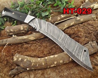 "15"" Long hand forged Damascus steel Eagle Kukri Knife, 10"" full tang blade, Micarta wood scale with steel bolster, Cow hide Leather sheath"