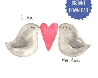 Printable Love Birds, Watercolor Print, Digital Love Birds, Wedding Gift, Anniversary Gift, Shower Gift, Gift for Him Her, Home Decor