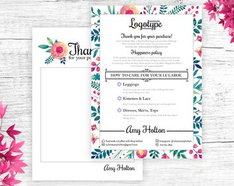 Floral Lula Thank You Card, Free Customize, Care Card, Return/Exchange, Floral, Policy Card, Digital Files