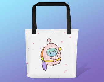 Commander Kitty Space Tote Bag / Cat Tote Bag / Cute reusable bag / Gift Tote / Useful gifts