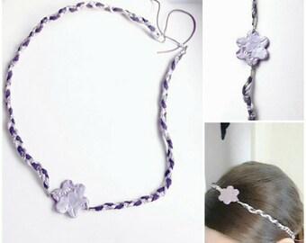 Headband hair accessory, purple violet flower, silver