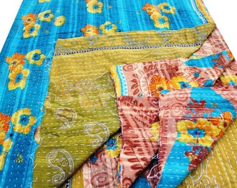 Indian Vintage kantha Quilt Reversible Gudri Bohemian Bedspread Home Decor Table Cover Birthday Gift Unique Gift Anniversary