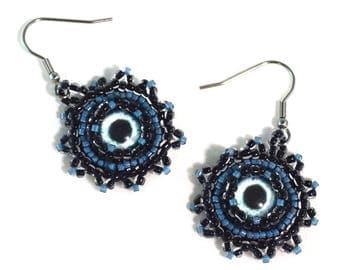 Mermaid Evil Eye Earrings - Surgical Steel Hooks -Evil Eye Earrings - Free US Shipping