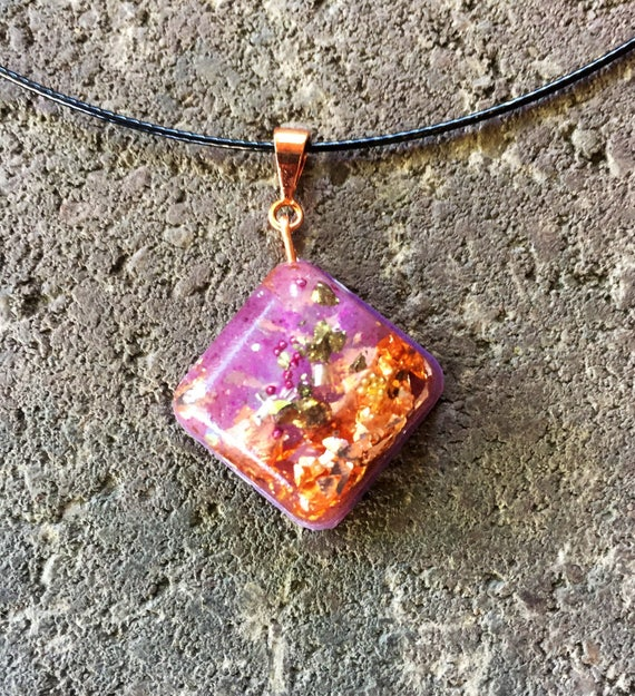 Lavender Smudge Orgonite® charm- Violet Flame Orgone Positive Energy Generator necklace- Spiritual Cleansing Orgonite® Pendant