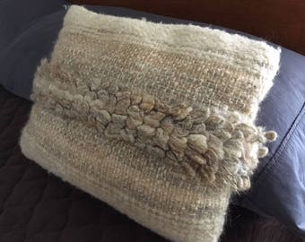 Vintage Textile Art Hand woven Wool Pillow Ivory/Brown/Beige