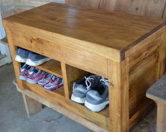 Rustic Entryway Bench with Storage, Wood Shoe Cubby, Bedroom Furniture, Coffee Table