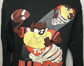 20% OFF SALE Vintage 90s Tasmanian Devil Looney Tunes Cartoon University of Illinois College Crewneck Sweatshirt (Large)