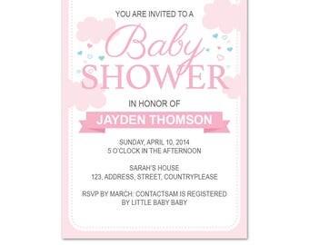 Baby Girl Shower Invitation  |  Baby Shower Invite | Girl Shower | Pink Clouds & Rain Hearts | Rain Shower  | Pastel  | Instant download