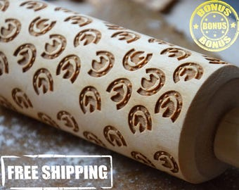 Wooden Rolling Pin Embossed roller 4 Size Horseshoe Horse Gift On Birthday Nice Pattern Birhtday gift for mom Baking Cookware Handmade Gift