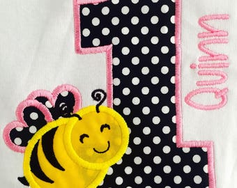 Personalized Bumble Bee Shirt. Personalized first birthday shirt. 1st Birthday Bee Shirt. Honey Bee Applique shirt. Summer Shirts for Girls