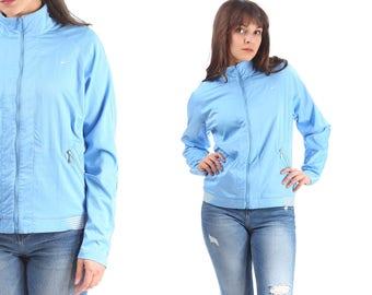 NIKE Bomber Jacket 80s Blue Vintage Zip Up Track Jacket Raglan Sleeves Normcore Street Sport Hipster Women Men Unisex Medium