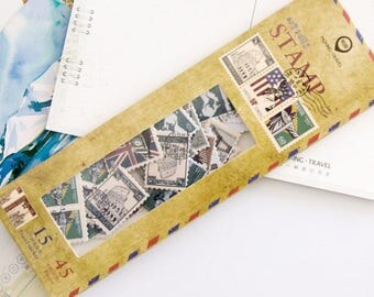 45 Pieces of Vintage Stamps Stickers