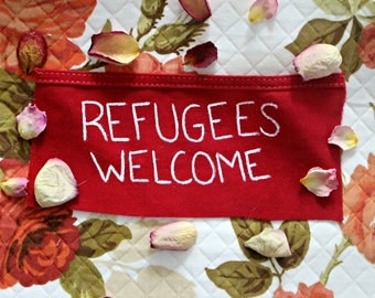 Refugees Welcome Patch (Made from a cut up Amerikan flag)
