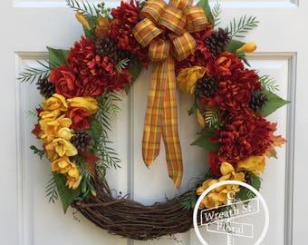 Fall Wreath, Autumn Wreath, Orange Wreath, Front Door Wreath, Grapevine Wreath, Wreath Street Floral, Pinecone Wreath, Door Wreath