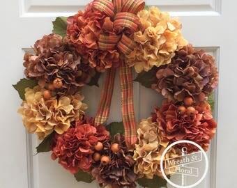 Hydrangea Wreath, Front Door Wreath, Fall Wreath, Autumn Wreath, Grapevine Wreath, Wreath Street Floral, Door Wreath, Orange Wreath