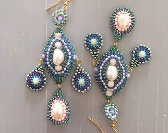 Beaded Earrings,Earrings with Pearls,Green and Blue Earrings,HandWork Earrings