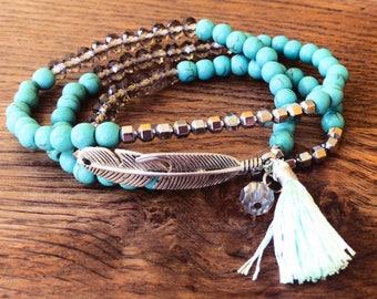 MYC Paris - Bracelet Plume et pompon Wrap, Perles minérales, Fait main