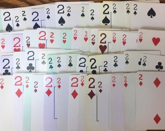 Dueces are Wild ~ Set of 16 Twos Playing Cards ~ 16 Twos from Assorted Card Decks 4 from each Suit